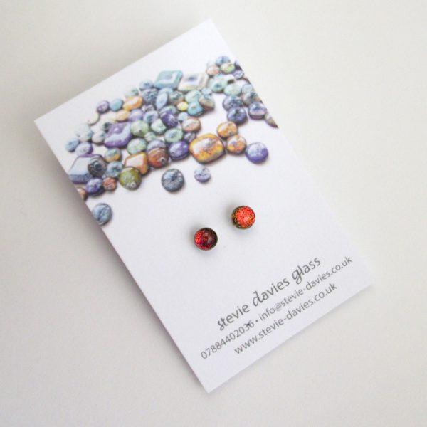 Mini dichroic glass stud earrings by Stevie Davies