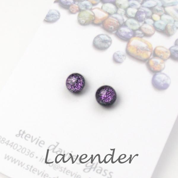 Lavender mini stud earrings by Stevie Davies