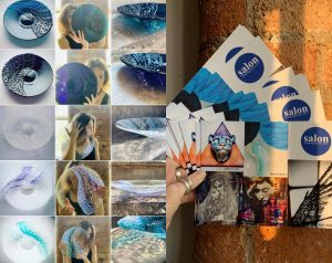 Interfused glass examples and Salon exhibition postcard