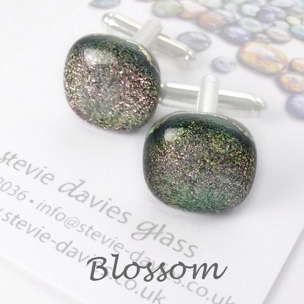 Blossom dichroic glass cufflinks by Stevie Davies