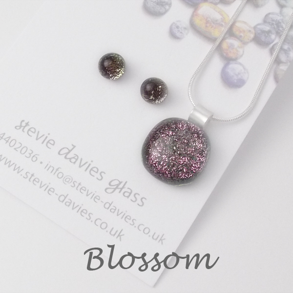 Blossom dichroic glass small jewellery set by Stevie Davies
