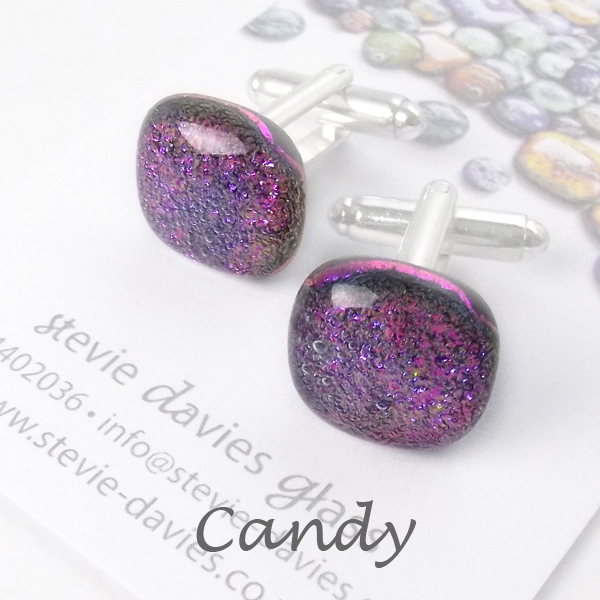 Candy dichroic glass cufflinks by Stevie Davies