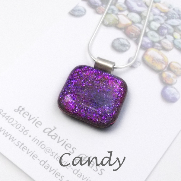 Candy dichroic glass large pendant by Stevie Davies