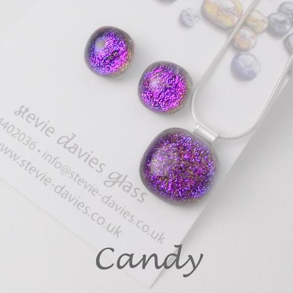 Candy dichroic glass medium jewellery set by Stevie Davies