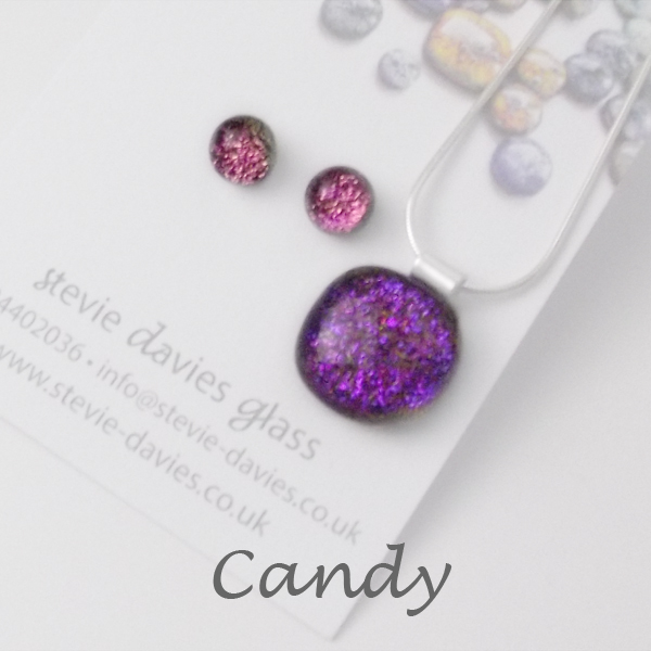 Candy dichroic glass small jewellery set by Stevie Davies