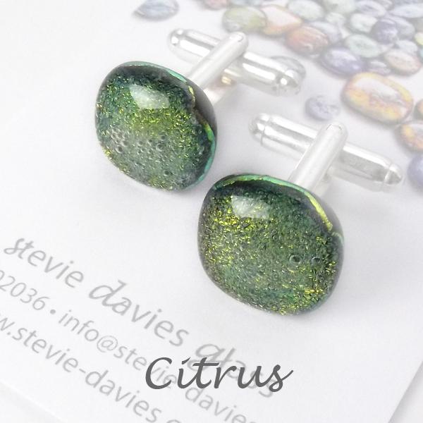 Citrus dichroic glass cufflinks by Stevie Davies