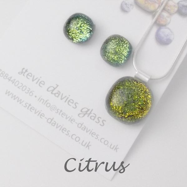 Citrus dichroic glass medium jewellery set by Stevie Davies