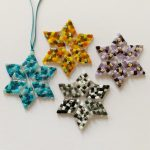 Completed large stars from kit by Stevie Davies Glass