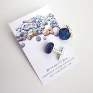 Dichroic glass cufflinks by Stevie Davies