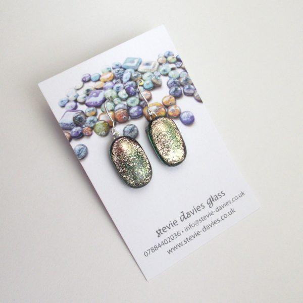 Medium dichroic glass drop earrings by Stevie Davies