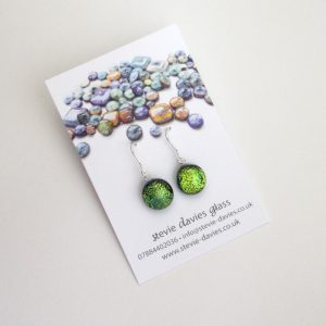 Small dichroic glass drop earrings by Stevie Davies