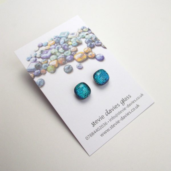 Dichroic glass stud earrings by Stevie Davies