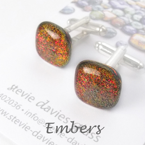 Embers dichroic glass cufflinks by Stevie Davies