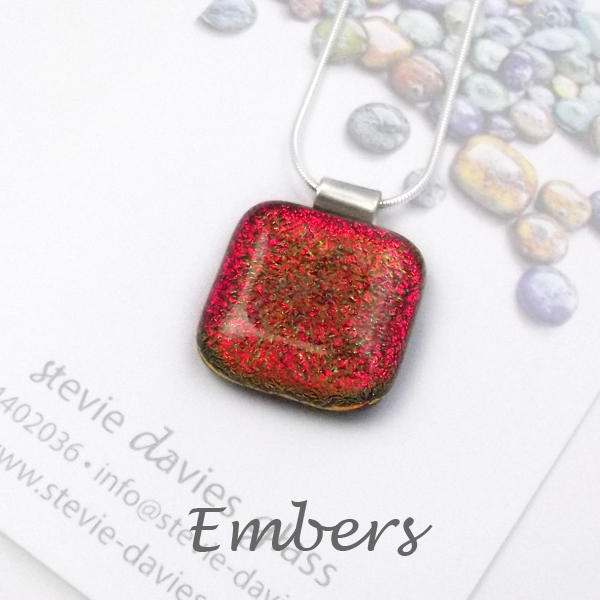 Embers dichroic glass large pendant by Stevie Davies