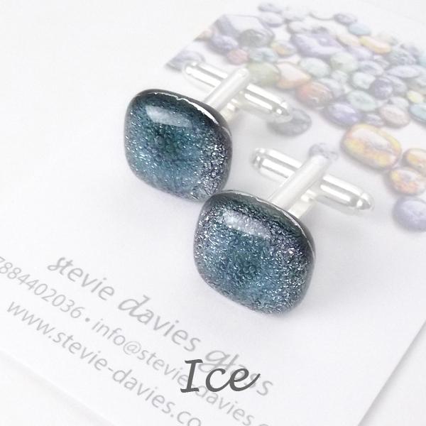 Ice dichroic glass cufflinks by Stevie Davies