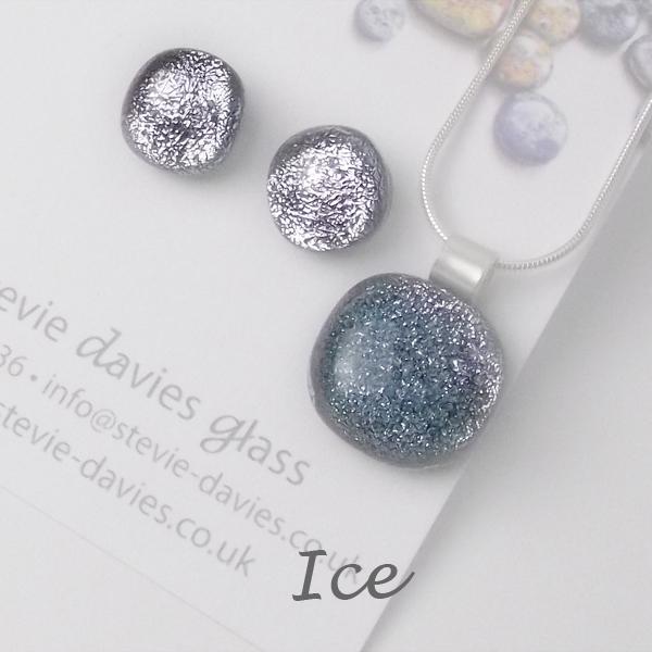 Ice dichroic glass medium jewellery set by Stevie Davies