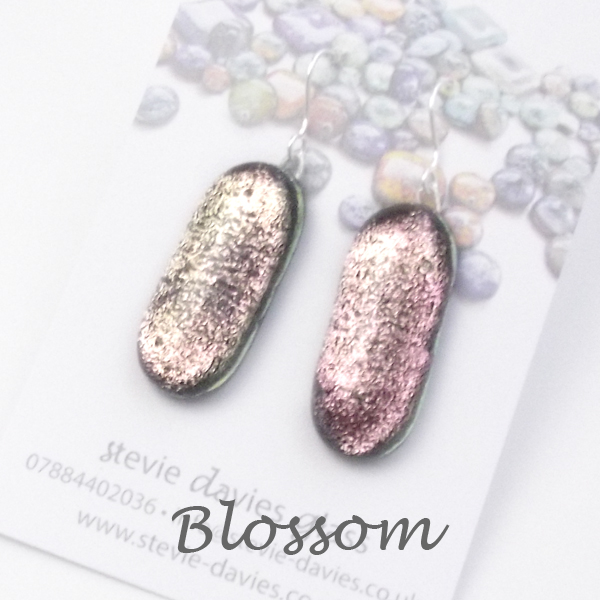Blossom colour large drop earrings by Stevie Davies Glass