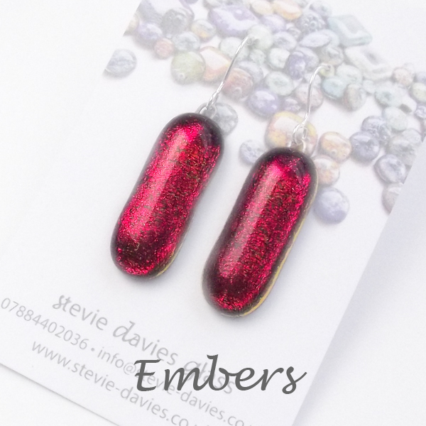 Embers colour large drop earrings by Stevie Davies Glass