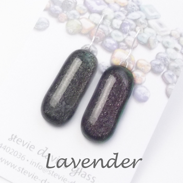 Lavender colour large drop earrings by Stevie Davies Glass