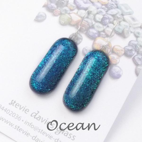 Ocean colour large drop earrings by Stevie Davies Glass