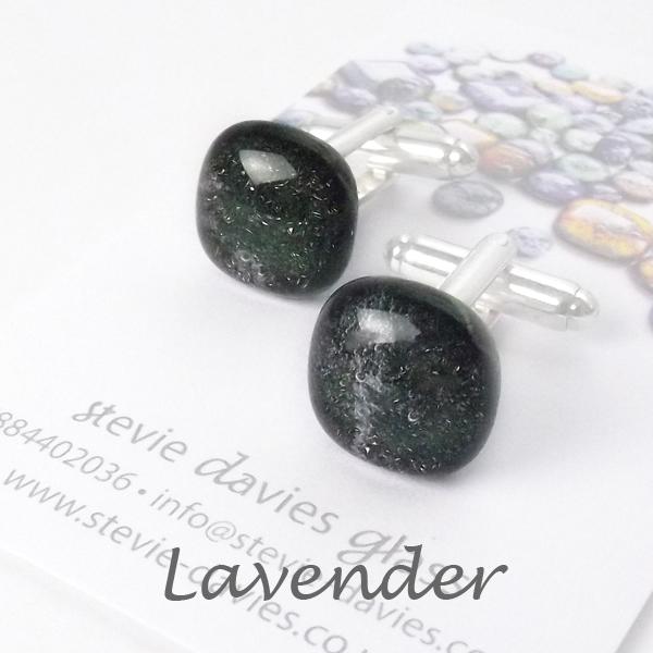 Lavender dichroic glass cufflinks by Stevie Davies