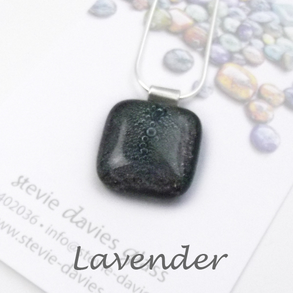 Lavender dichroic glass large pendant by Stevie Davies