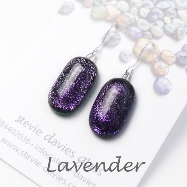 Lavender medium drop earrings by Stevie Davies