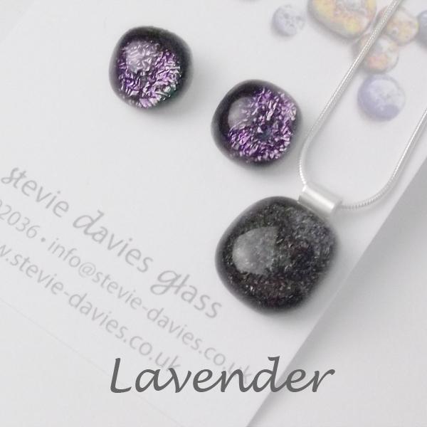 Lavender dichroic glass medium jewellery set by Stevie Davies