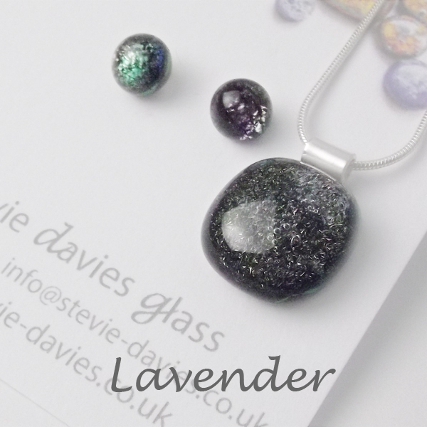 Lavender dichroic glass small jewellery set by Stevie Davies