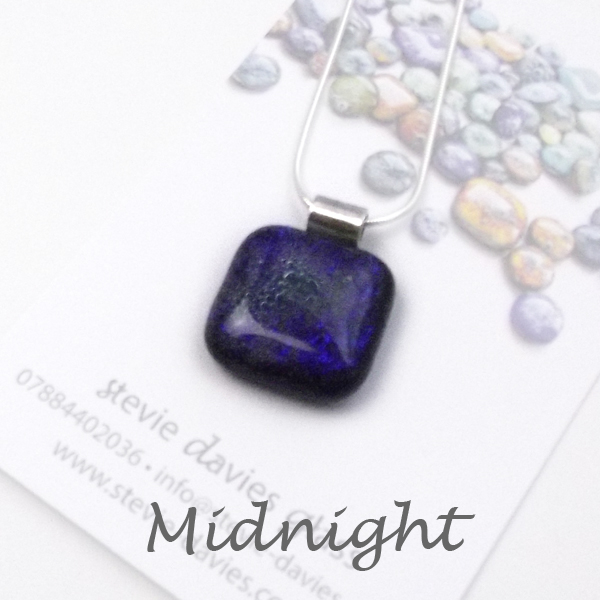 Midnight dichroic glass large pendant by Stevie Davies