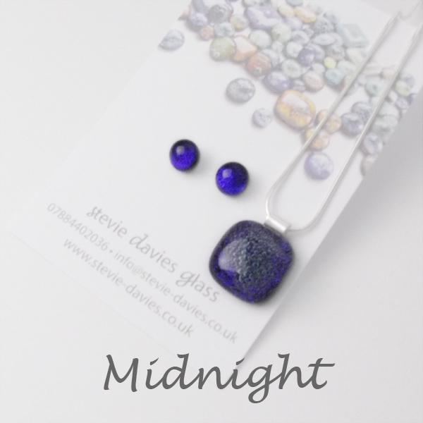 Midnight dichroic glass small jewellery set by Stevie Davies