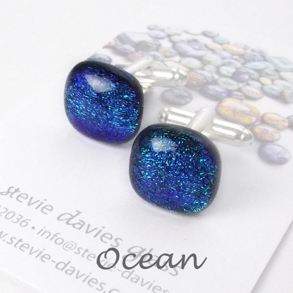 Ocean dichroic glass cufflinks by Stevie Davies