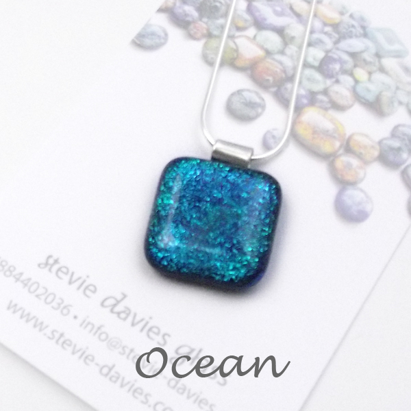 Ocean dichroic glass large pendant by Stevie Davies
