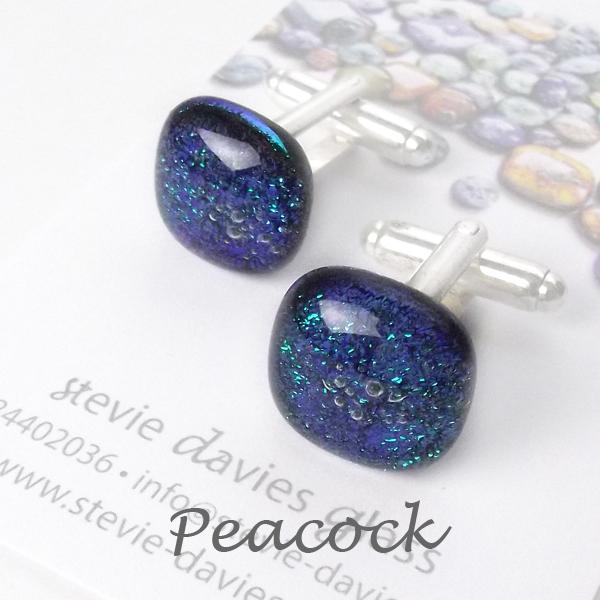 Peacock dichroic glass cufflinks by Stevie Davies