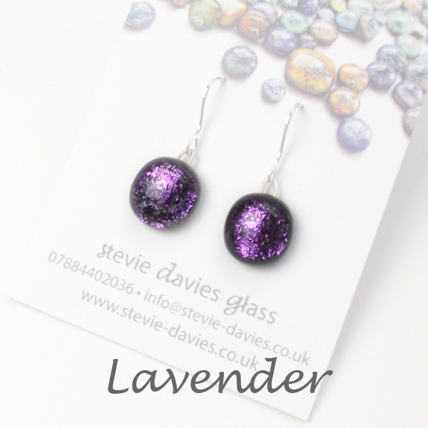 Lavender small drop earrings by Stevie Davies