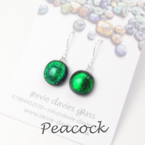Peacock small drop earrings by Stevie Davies