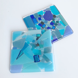 Glass tiles made on a Stevie Davies glass workshop