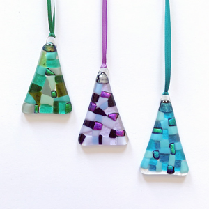 Christmas tree hangings made from a Stevie Davies glass kit