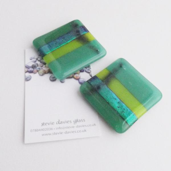 Pair of glass tealight tiles by Stevie Davies