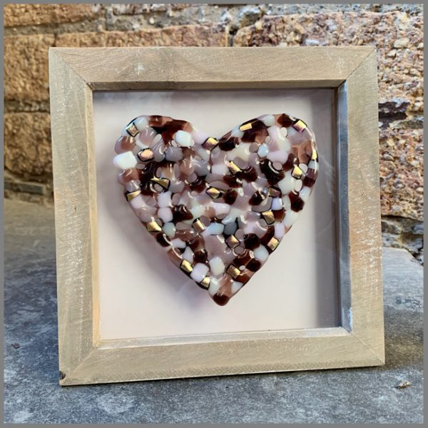 Photo of finished framed glass heart from Stevie Davies kit