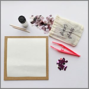 Photo of materials in framed artwork kit from Stevie Davies Glass