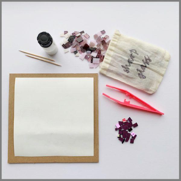 Photo of materials in framed artwork kit from Stevie Davies Glass