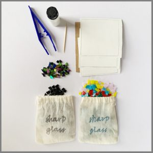 Photo of materials in trinket dish kit from Stevie Davies Glass