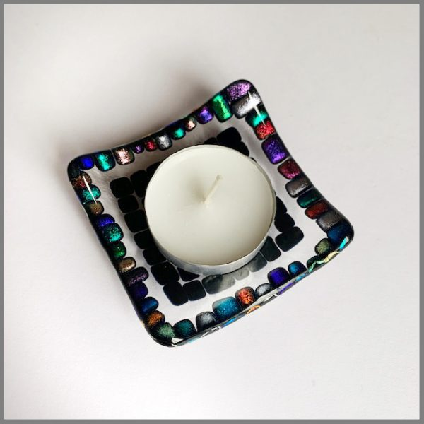 Photo of dish holding candle from trinket dish kit from Stevie Davies Glass
