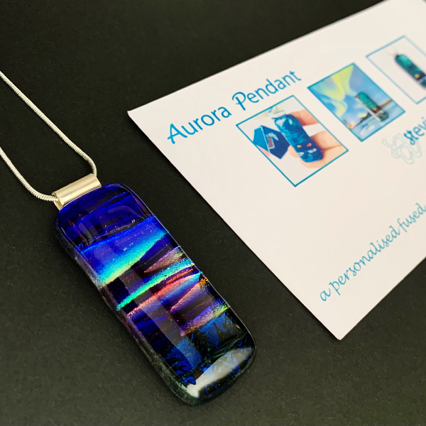 Gift certificate and example of Aurora Borealis glass pendant necklace