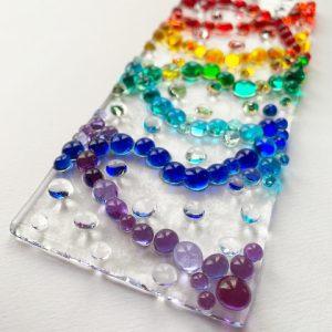 Stevie Davies Glass kits rainbow frit balls long tile