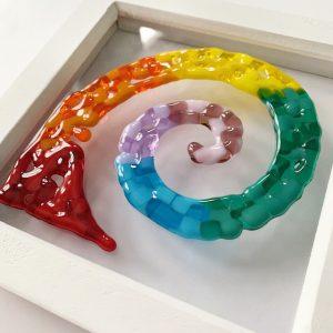 Stevie Davies Glass kits framed artwork rainbow spiral swirl