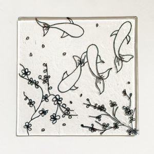 Stevie Davies Glass kits wire drawing koi pond