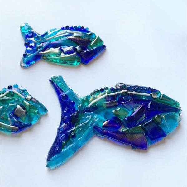 Stevie Davies Glass kits ocean blues fish