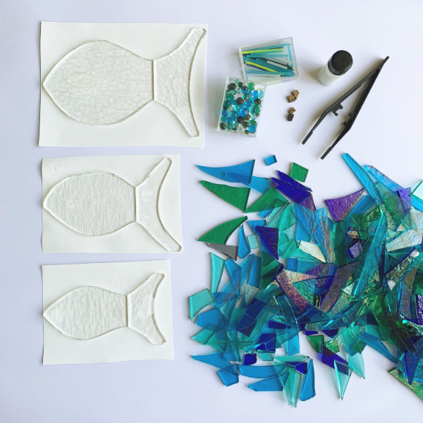 Photo of materials for glass fish kit from Stevie Davies